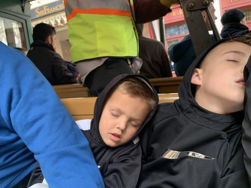 Kids sleeping cable car