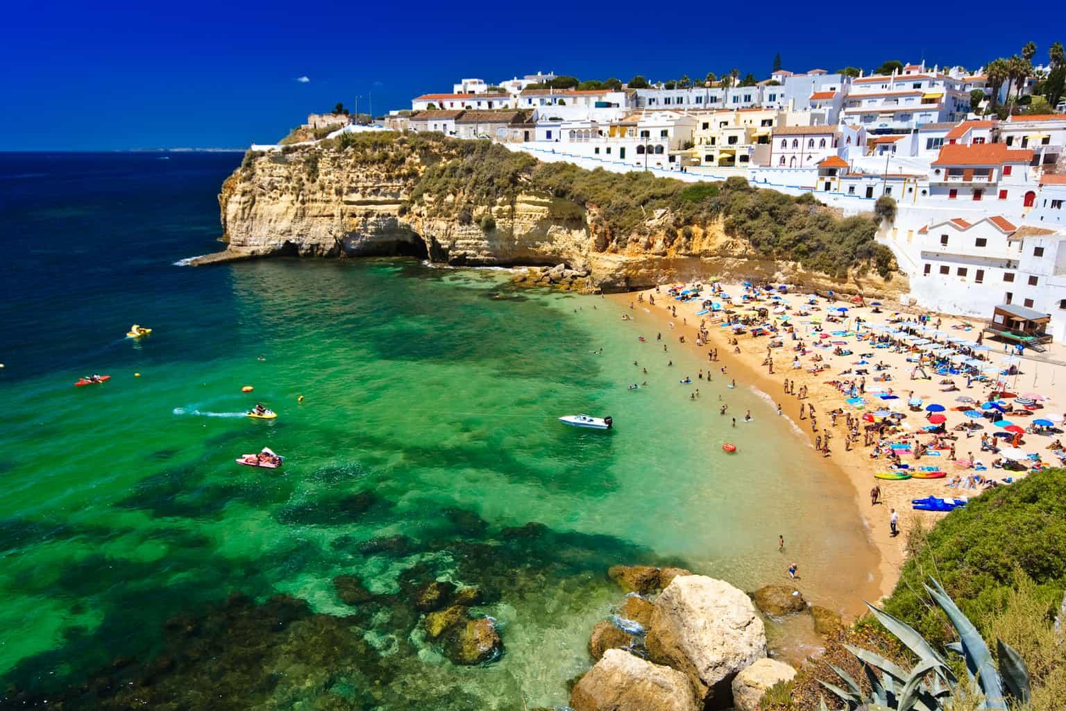 Algarve rock coast in Portugal